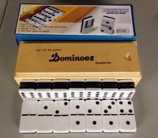 Dominoes Double 6 Six Jumbo Size Two Tone Tile Spinners Black White Wooden Case