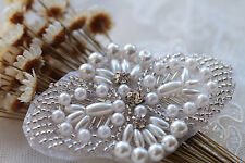 Beaded Rhinestone Applique Pearl Applique Crystal Lace Trim Bridal Accessories