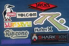 Lot of 8 surfing stickers hurley rusty jack's surf style volcom chums sharkskin
