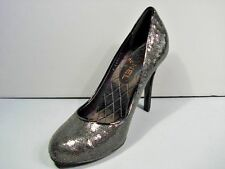 "CHANEL BLACK SEQUINS CLASSIC PUMPS ROUND TOE ""CC"" 36/6 SHOES HEELS NEW $960"