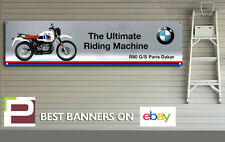 BMW r80 G/S Paris Dakar banner per Officina, Garage, Man Grotta, 1300mm x 325mm