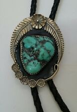 Vintage leaves & flowers turquoise style bolo tie