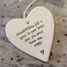 East Of India White Hanging Porcelain Heart Grandchildren Fill a Space Gift