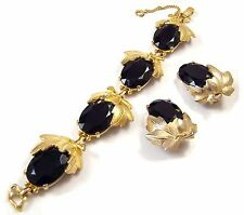 SCHIAPARELLI DEEP AMETHYST CABOCHONS GOLDEN LEAF LINK BRACELET & CLIP EARRINGS