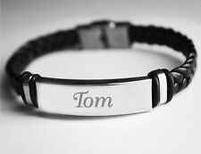 Leather Braided Engraved Name Bracelet - 'TOM' - Christmas Gifts for Him