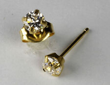 Studex Sensitive Gold 4mm Clear Cubic Zirconia CZ Stud Earrings