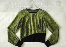 NEW! CUE Green/Black Long Sleeve Floral Ribbed Knit Jumper/Top Size 10 RRP:189