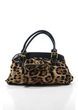 DOLCE & GABBANA Brown Black Calf Hair Animal Print Leather Trim Satchel Handbag