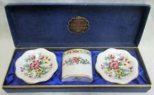 3 Piece Boxed Coalport 'Ming Rose' Vase & Trinket Dishes