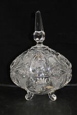 Vintage KRISTALUXUS Elegant Cut Lead Crystal Footed Candy Dish & Cover