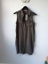 BNWT Gorgeous Ladies Mint Velvet Khaki Longline Split Shirt, UK Size 8, Tagged,
