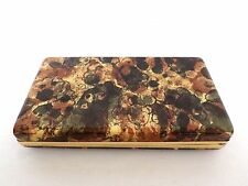 Vintage Mele Earring Hinged Jewelry Box Brown and Gold Faux Watercolor Hard Case