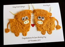 Handmade Personalised Wedding / Engagement /Anniversary Highland Cow Card