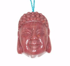 34X25MM HAITIAN FLOWER RHODONITE GEMSTONE PINK CARVED BUDDHA HEAD 2 BEADS