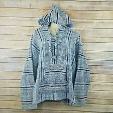 Mexican Drug Rug Pullover Baja Hoodie XL Blue Colorful Boho Hippie Mexico Poncho