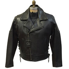 Brand Men's Black Waxy Natural Cow 50's Motorcycle Biker Leather Jacket, Size M
