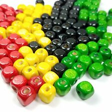 100 Loose Square 10mm Wood Rasta Beads Black Yellow Red Green, Mixed Beads