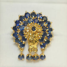 14k Yellow Solid Gold Peacock Ring with Natural 3.50TCW  Blue Sapphire Size 7.