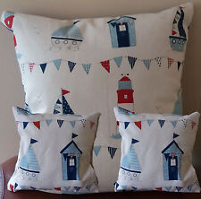 Set of 3 - Lovely Nautical ,Beach hut design,with a  blue back