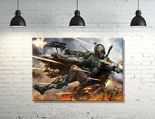"Star Wars Boba Fett framed Canvas Wall Art  ""GREAT WALL DECOR"""