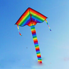 Colorful Rainbow Triangle Kite Outdoor Fun Sports Beach Children Fly Toys Gift #