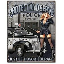 Police Dept. Protect & Serve metal sign 410mm x 320mm (de) FAST dispatch from UK