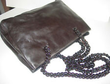 PRADA Brown SMOOTH Leather CHAIN Purse/Shoulder Bag/Superb Quality/ITALY BEAUTY!