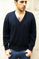 Navigare Cable jumper 80s Wool Knitted Dark Blue Jumper Sweater Italy M  Top