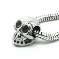 SKULL-Skeleton-Halloween- Genuine solid 925 sterling silver- European charm bead