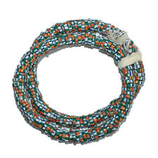 Recycled Glass Beads African Krobo Disc Spacers Teal 10 mm Hand-made  45-Pack