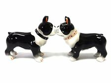 Boston Terrier Dog Ceramic Salt and Pepper Shakers Set.Magnetic Attracted