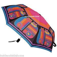 Laurel Burch COMPACT Umbrella Rainbow Cat Cousins Auto Open & Close Large Canopy