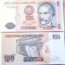 """BILLETE """"  PERU      """" 100   INTIS   AÑO :1987   UNC  PLANCHA"""