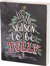 """TIS THE SEASON TO BE JOLLY Christmas Box Sign 9"""" x 11.5"""", Primitives by Kathy"""
