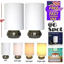 """Set 2 Small 9"""" Night Stand Table Lamps Touch Sensor Bedroom Desk Lights Shades"""