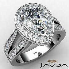 Halo Pave Set Pear Diamond Huge Engagement Ring GIA F VS2 18k White Gold 2.82ct