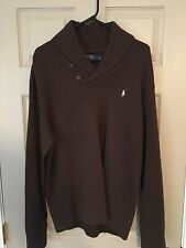 NWT POLO RALPH LAUREN French Rib Shawl Pullover Sweater Large L Brown