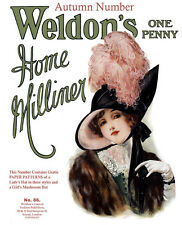 Weldon's Home Milliner #86 c.1912 Women's Hat Fashions & Two Full Size Patterns