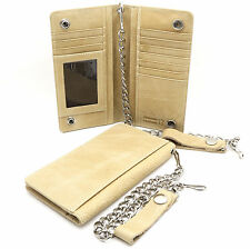 Bifold Beige Genuine Leather Checkbook Holder Snap Button Wallet with a Chain