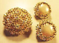 Vintage 40's Flower Plastic Pearl Crystal Rhinestone Pin Brooch Earrings Set