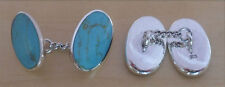 925 Sterling Silver Blue Turquoise Stone Classic Chain Link Cufflinks