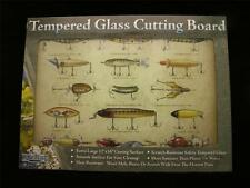 """Tempered Glass Cutting Board 12"""" x 16"""" VINTAGE LURES Design"""