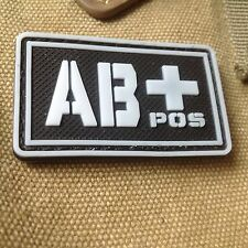GLOWING  Military Blood Type AB+ Positive Tactical Army 3D PVC Patch