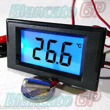 TERMOMETRO LCD DA PANNELLO -50 +150°c NTC 8-12V DC LED BLU SONDA 1m probe sensor