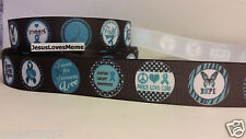 Grosgrain Ribbon, Ovarian Cancer Awareness Fight Faith Hope Believe Strength, 1""
