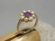 9ct CT YELLOW GOLD AMETHYST AND PEARL FLOWER CLUSTER RING SIZE O BEAUTIFUL