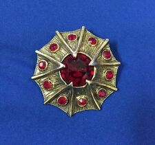 Vintage TARA Brooch Pendant Gold Tone With Red Stone