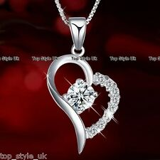 Heart 925 Sterling Silver Pendant Necklace Chain Jewelry Fashion Gift for Her