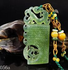 100% Natural 3D Hand-carved Jade Pendant jadeite Necklace dragon coin 056a