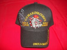 US MARINE CORPS Embroidered Insignia Black Ball Hat With Velcro Back